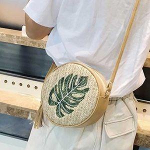Handbags - Green Leaf Pattern Straw PU Circle Bag